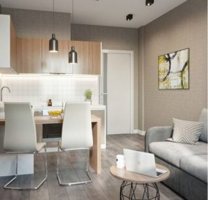 белый матовый натяжной потолок в кухне