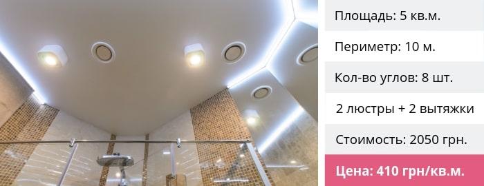 Натяжной потолок в ванную цена
